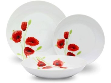 Service de Table 18 pièces en porcelaine Coquelicot rouge et blanc