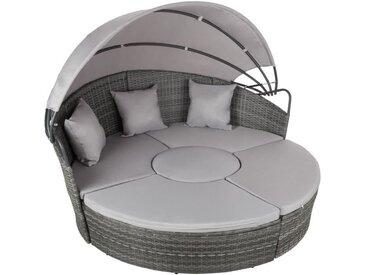 TECTAKE Salon de Jardin SANSIBAR - Bain de Soleil Transat Modulable Aluminium et Résine Tressée - Pare Soleil + 3 Coussins - Gris