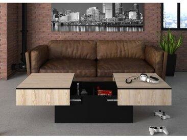 AMELIA Table basse - Décor Frêne et Noir - L 113 x P 60 x H 40 cm