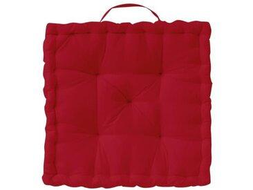TODAY Coussin de sol Coton - 50 x 50 x 12 cm - Rouge pomme d'amour
