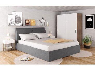 HARMONY Lit coffre 160x200cm + sommier inclus - Tissu gris foncé