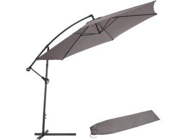 Parasol 350 cm avec housse de protection - gris