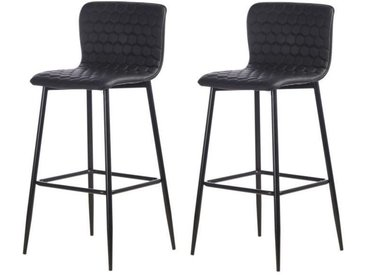 VEGAS Lot de 2 tabourets de bar - Simili noir - Contemporain - L 46 x P 46 cm