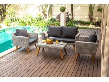 ALMA Salon de jardin en résine tressée 4 places - un canapé et deux fauteuils avec une table basse