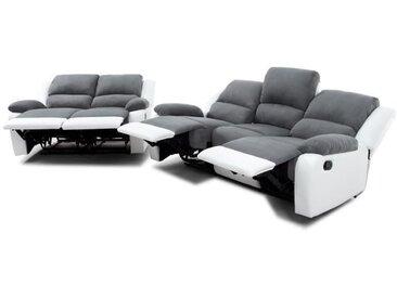 RELAX Ensemble canapés droits de relaxation 3 + 2 places - Microfibre gris et simili blanc - L 190 x P 93 cm + L 144 x P 93 cm