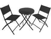TECTAKE Salon de Jardin DÜSSELDORF 2 Personnes 1 Table et 2 Chaises Pliables en Acier et Textilène Noir