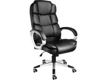 TECTAKE Fauteuil de Bureau design pivotant ergonomique Dossier rembourré Hauteur d'assise réglable 47 cm à 55 cm Noir
