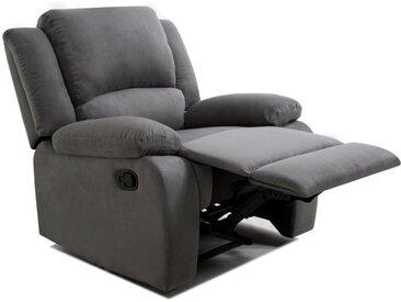 RELAX Fauteuil relaxation - Tissu gris - Style contemporain - L 86 x P 90 cm