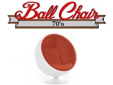 Fauteuil boule, Ball chair coque blanche / intérieur feutrine orange. Design 70's. orange Velours Inside75