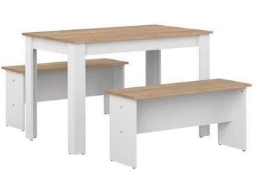 SALT Ensemble Table à manger 4 à 6 personnes + 2 bancs NICE - Contemporain - Décor chêne et blanc - L 110 x l 70 et L 84,4 x P 33 cm