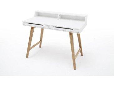 TIFFY Bureau vintage laqué blanc mat et pieds en bois hêtre massif - L 110 cm