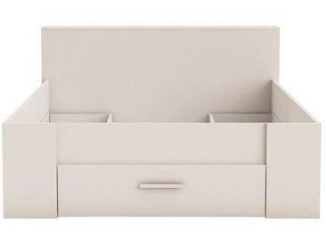 OXYGENE Lit adulte contemporain bois mat blanc perle + tête de lit - l 160 x L 200 cm
