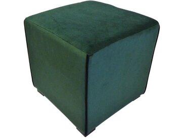 Pouf carré velours Harry - 35 x 35 cm - Vert émeraude avec passepoil noir