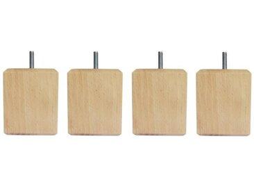 Jeu de pieds carrés en bois - L 7 x l 7 x H 8,5 cm - Lot de 4