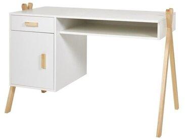 AMAROK Bureau enfant - Pin massif et MDF - Blanc/naturel - Style scandinave - L 46 cm