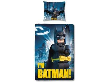 Parure de couette 100% Coton LEGO BATMAN - 1 housse de couette 140x200 cm + 1 Taie d'oreiller 63x63 cm bleu, gris et jaune