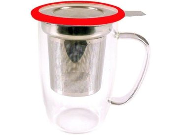 YOKO DESIGN Mug tastea en verre avec filtre inox coupelle - Coloris rouge - 450 ml