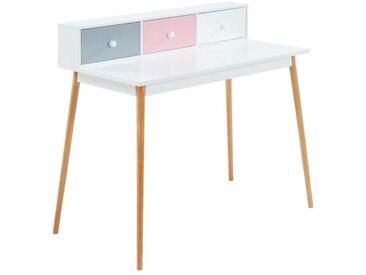 ENJOY Bureau droit enfant scandinave blanc, gris et rose laqué mat + pieds en bois hévéa massif - L 110 cm