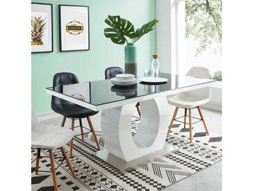 RING Table à manger de 6 à 8 personnes style contemporain laquée blanc brillant et noir - L 160 x l 90 cm