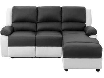 RELAX Canapé de relaxation d'angle droit 3 places - Simili blanc et gris - Contemporain - L 192 x P 147 cm