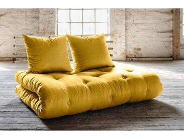 Canapé lit futon SHIN SANO jaune et pin massif couchage 140*200 cm. jaune Tissu Inside75