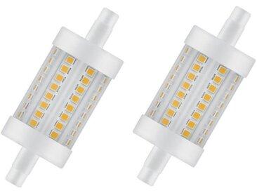 OSRAM Lot de 2 Ampoules crayon LED 78 mm R7S 8 W équivalent à 75 W blanc chaud dimmable