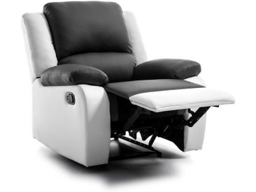 RELAX Fauteuil relaxation - Simili blanc et gris - Style contemporain - L 86 x P 90 cm