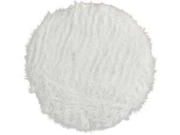FLOKATI DELUXE Tapis de salon ou chambre - Peau de mouton synthétique - Ø 70 cm - Blanc acrylique