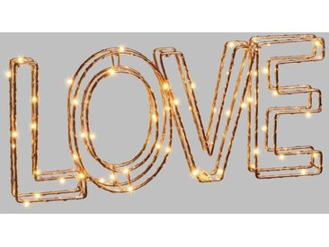 LOTTI Ecriture Love 3D en fil métal 34x15 cm - 60 micro-LED Ø 1,5 mm - Cuivre brillant - Transformateur 3,5 V fourni