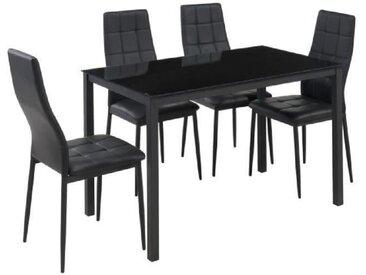SELVA Ensemble table à manger de 4 à 6 personnes + 4 chaises style contemporain en métal laqué noir - L 120 x l 70 cm