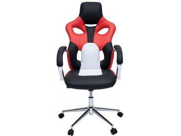 MASK Fauteuil de bureau - Simili noir, rouge et blanc - Urbain - L 73 x P 59 cm