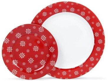 ABS T1904307-12X service de table 12pcs en porcelaine forme aile - Rouge laponie