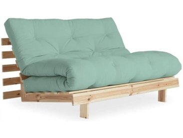 Canapé convertible futon ROOTS pin naturel coloris menthe couchage 140*200 cm. vert Tissu Inside75