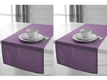 TODAY Lot de 2 chemins de table 100% coton 50x150cm figue