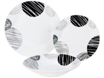 LEA Service de table 18 pièces noir et gris forme aile