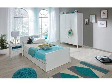 OLE Chambre enfant complète 4 pièces style romantique blanc mat - l 90 x L 200 cm