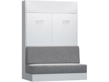 Armoire lit escamotable DYNAMO SOFA canapé intégré blanc mat et microfibre gris couchage 140 x 200 cm blanc Microfibre Inside75