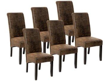 TECTAKE 6 Chaises de Salle à manger design romantique Structure en Bois 106 cm Marron Aspect Vieilli Daim