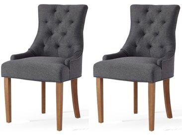 Lot de 2 chaises de salon pieds en bois hévéa massif - Revêtement tissu gris chiné - Classique- L 55 x P 60 cm