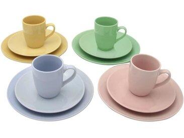 Service de table - 12 pièces - en gres - 4 Couleurs Panaches Pastel