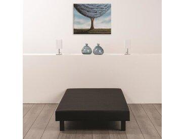 Sommier tapissier à lattes 90 x 200 - Bois massif noir + pieds bois verni clair - FINLANDEK Rakenne