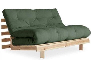 Canapé convertible futon ROOTS pin naturel coloris vert olive couchage 140*200 cm. vert Tissu Inside75