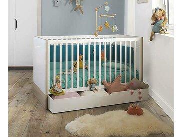 Lit bébé évolutif Plume  Blanc et bois 70x140 cm