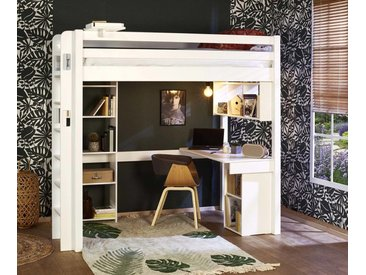 Lit mezzanine ado 2 places Fynn  Blanc 120x190 cm