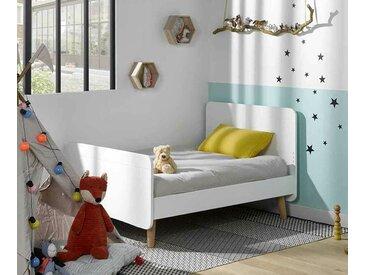 Lit enfant évolutif avec pieds Willow  Blanc 90x140 à 90x190 cm/Opt:Sans barrière de lit