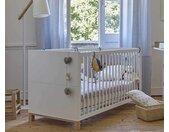 Lit bébé évolutif Ange  Blanc et bois 70x140 cm/Opt:Sans kit évolutif