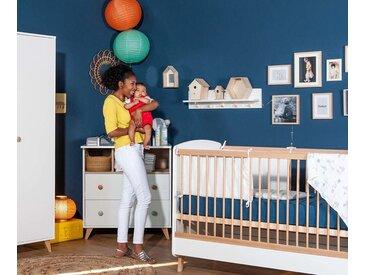 Lit bébé évolutif avec matelas Pepper  Blanc et bois 70x140 cm