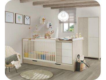 Lit bébé combiné évolutif avec matelas Lili  Blanc et bois 70x140 cm