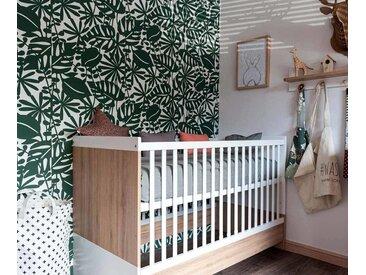 Lit bébé évolutif Holly  Blanc et bois 70x140 cm