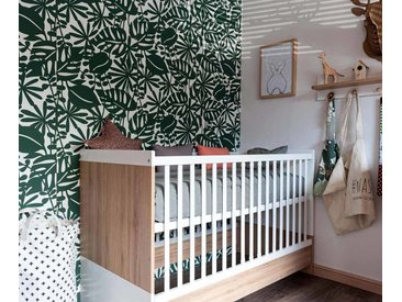 Lit bébé évolutif avec matelas Holly  Blanc et bois 70x140 cm